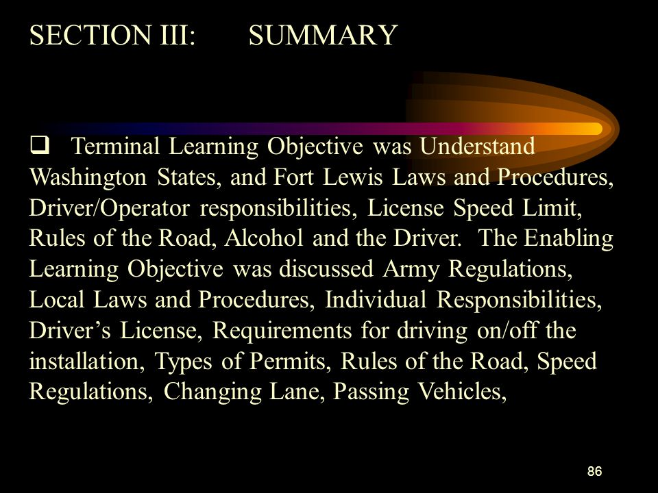 SECTION III: SUMMARY