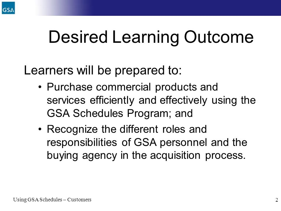 Desired Learning Outcome