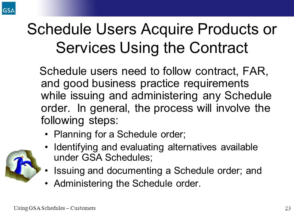 Schedule Users Acquire Products or Services Using the Contract