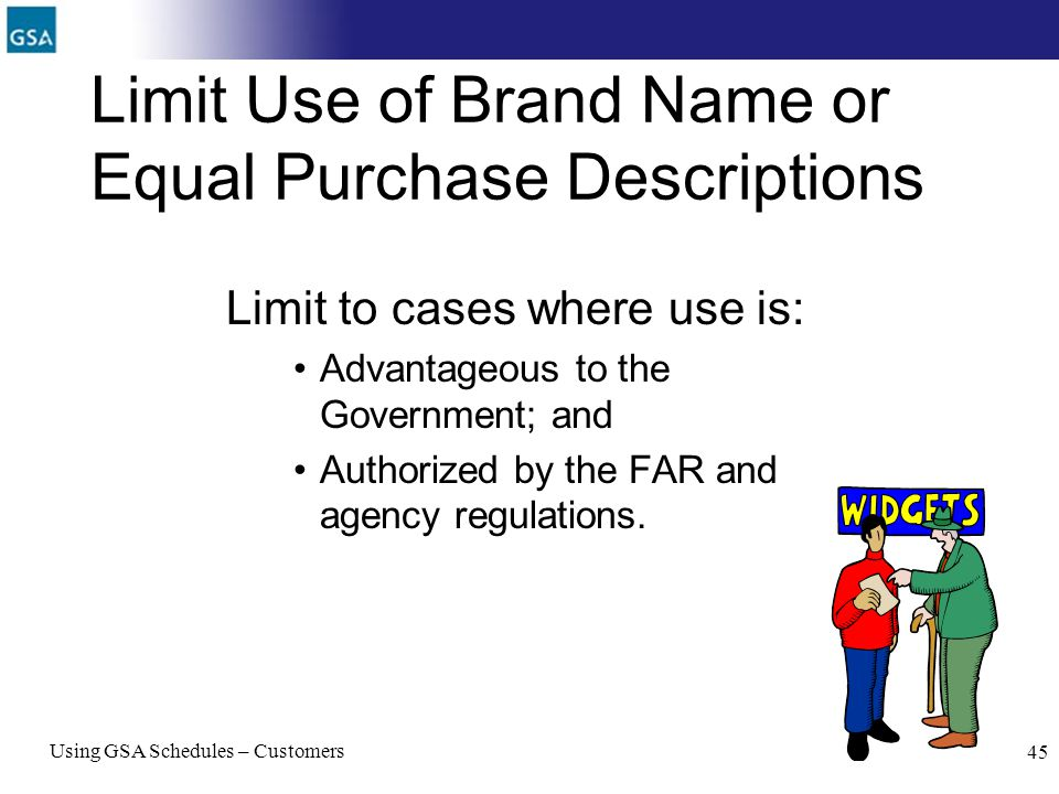 Limit Use of Brand Name or Equal Purchase Descriptions