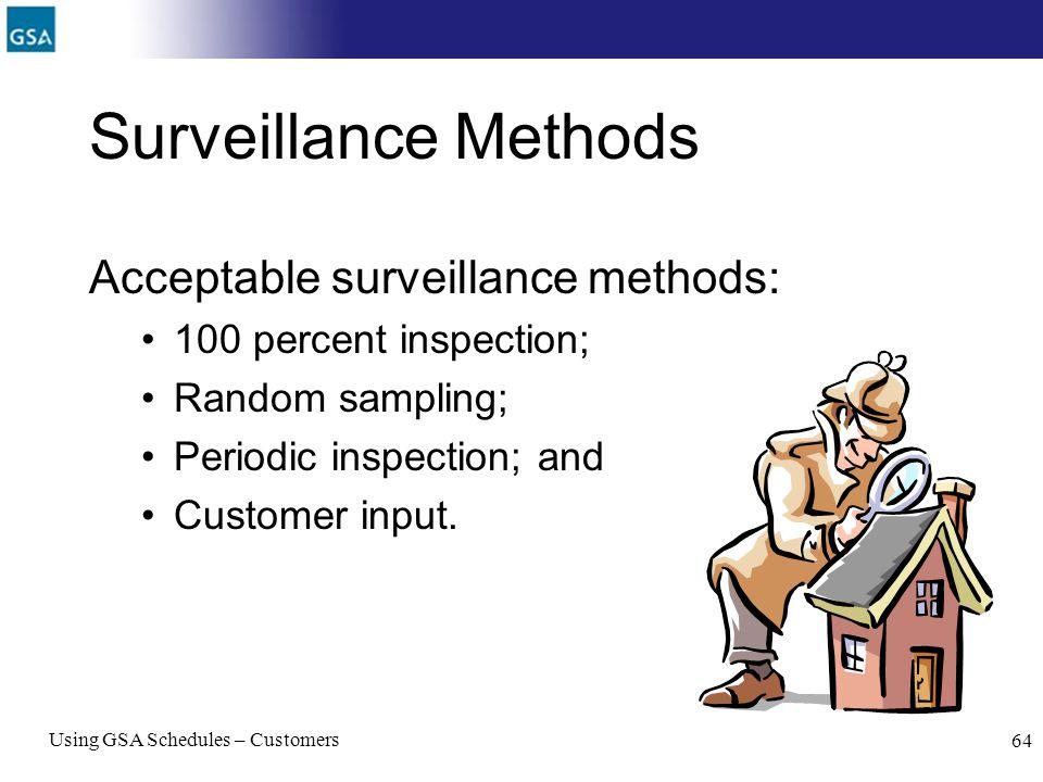 Surveillance Methods Acceptable surveillance methods: