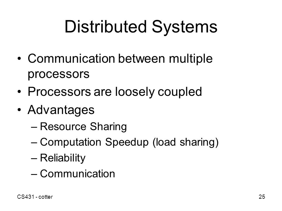Distributed Systems Communication between multiple processors