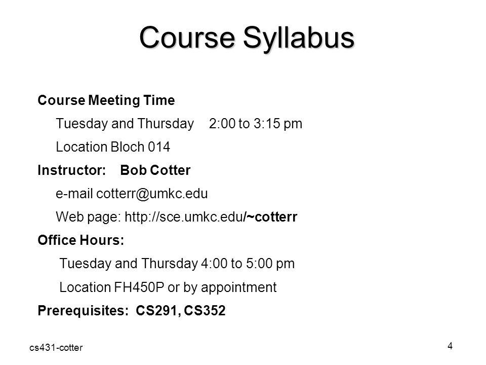 Course Syllabus Course Meeting Time