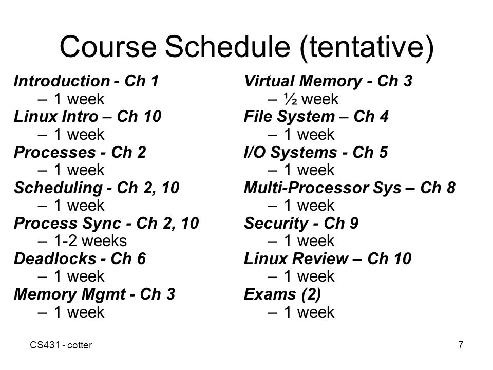 Course Schedule (tentative)