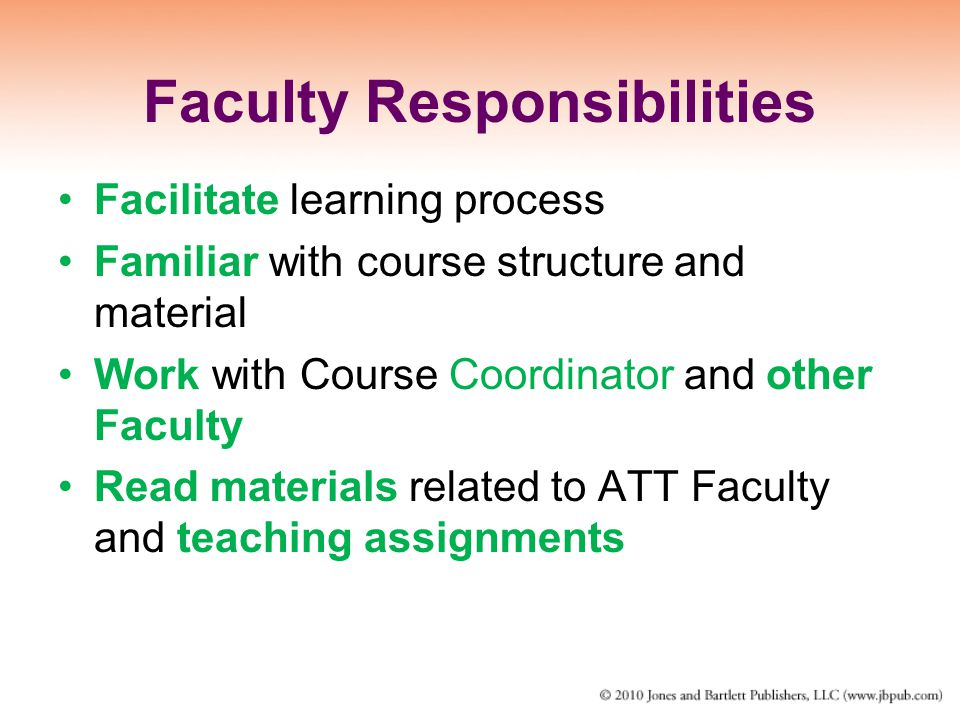 Faculty Responsibilities