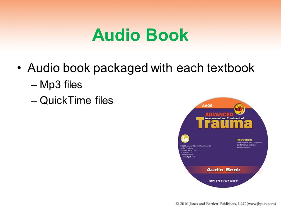 Audio Book Audio book packaged with each textbook Mp3 files