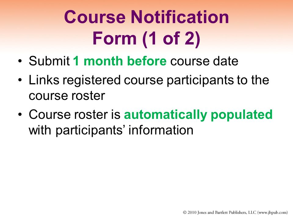 Course Notification Form (1 of 2)
