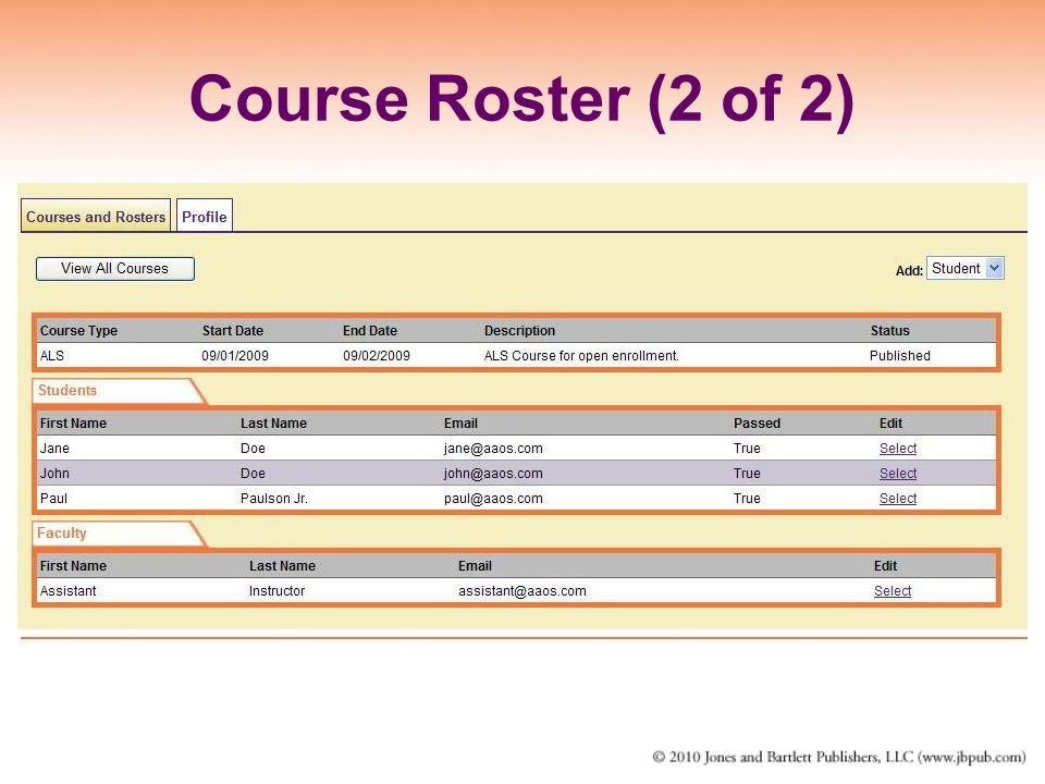 Course Roster (2 of 2)