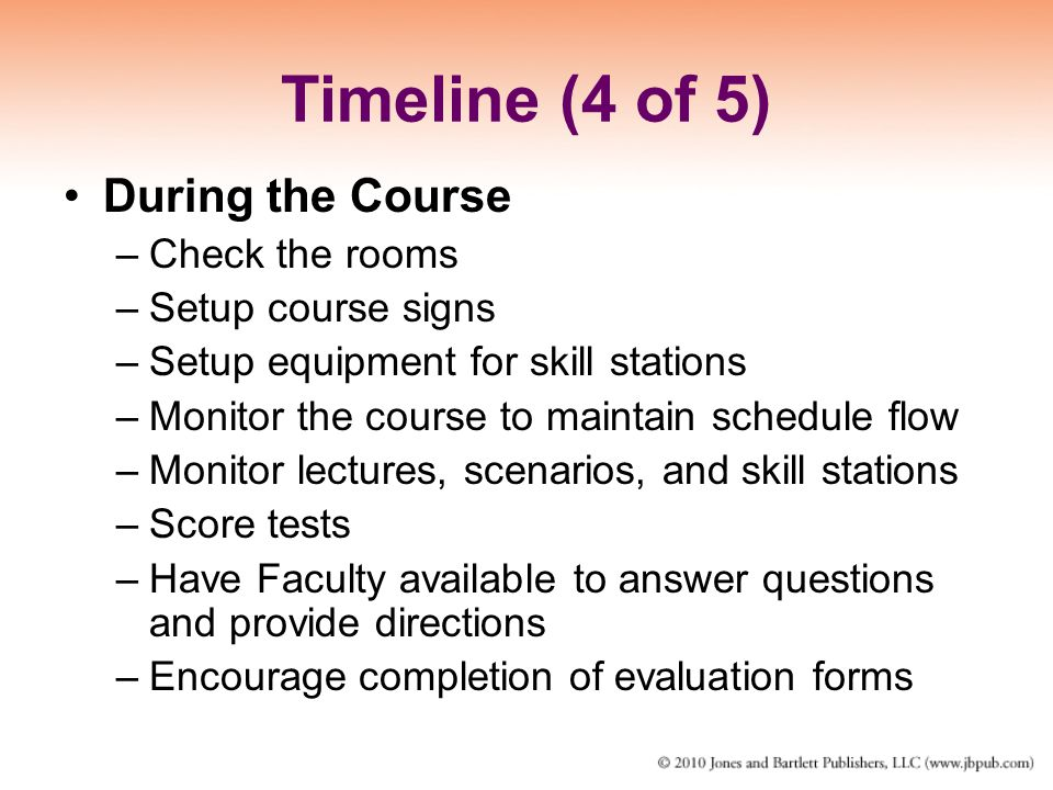 Timeline (4 of 5) During the Course Check the rooms Setup course signs