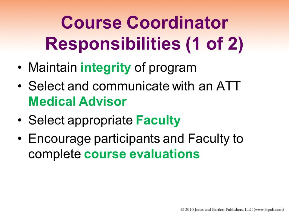 Course Coordinator Responsibilities (1 of 2)