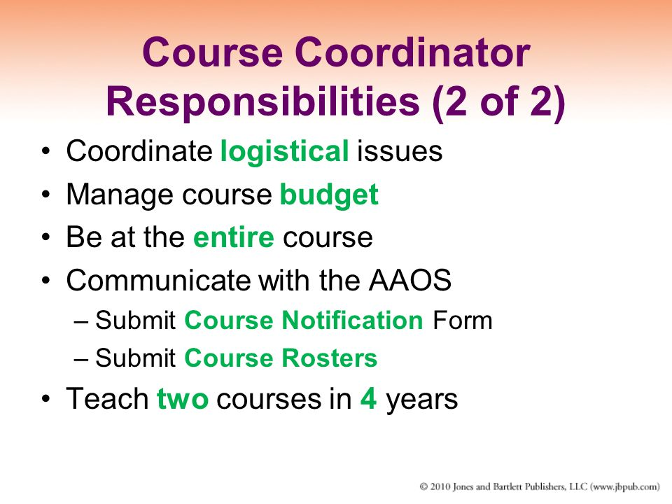 Course Coordinator Responsibilities (2 of 2)