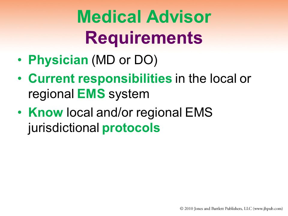 Medical Advisor Requirements