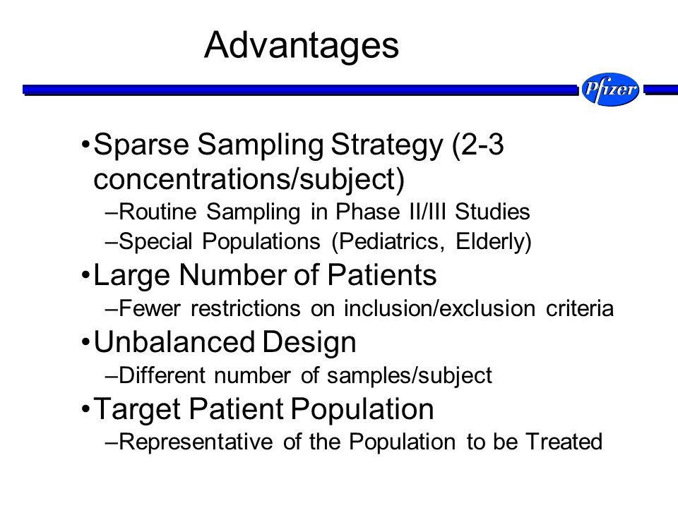 Advantages Sparse Sampling Strategy (2-3 concentrations/subject)