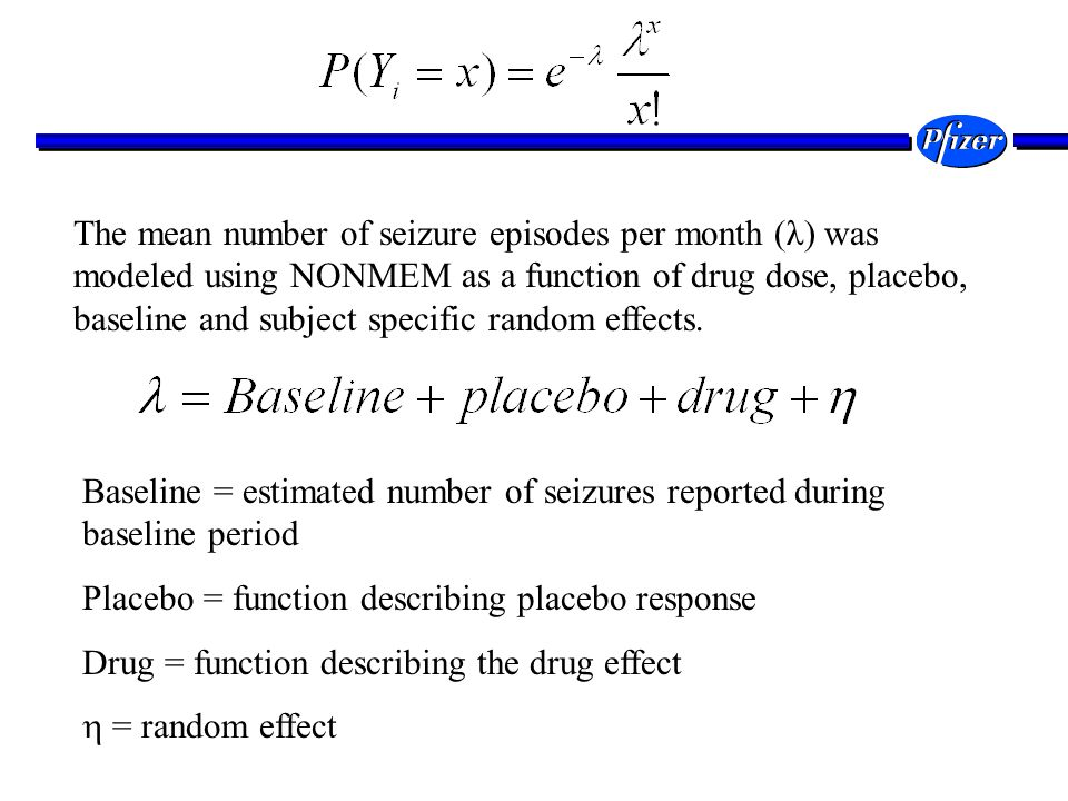 The mean number of seizure episodes per month (λ) was modeled using NONMEM as a function of drug dose, placebo, baseline and subject specific random effects.