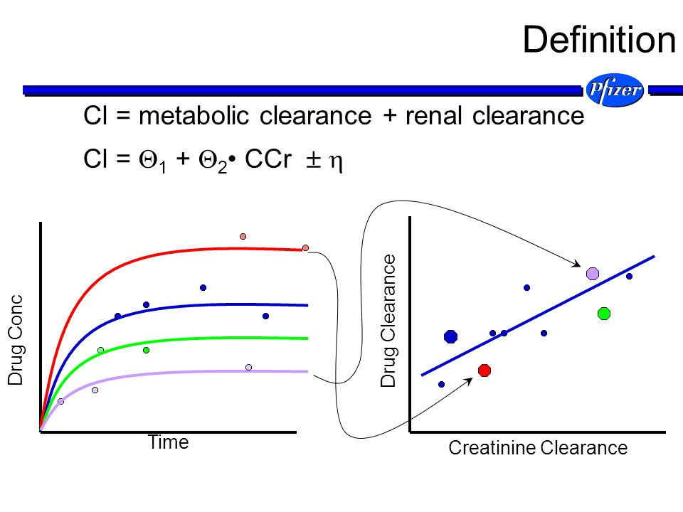 Definition Cl = metabolic clearance + renal clearance