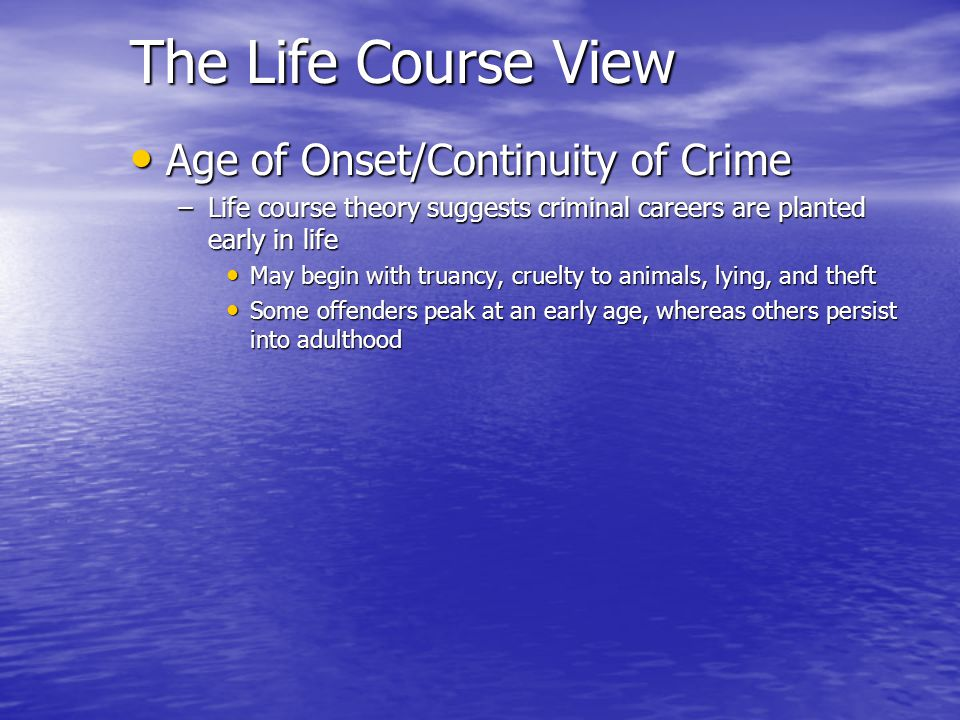 The Life Course View Age of Onset/Continuity of Crime