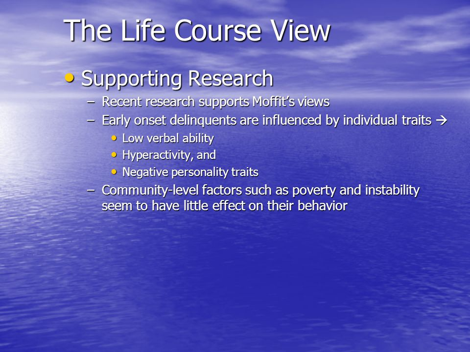 The Life Course View Supporting Research