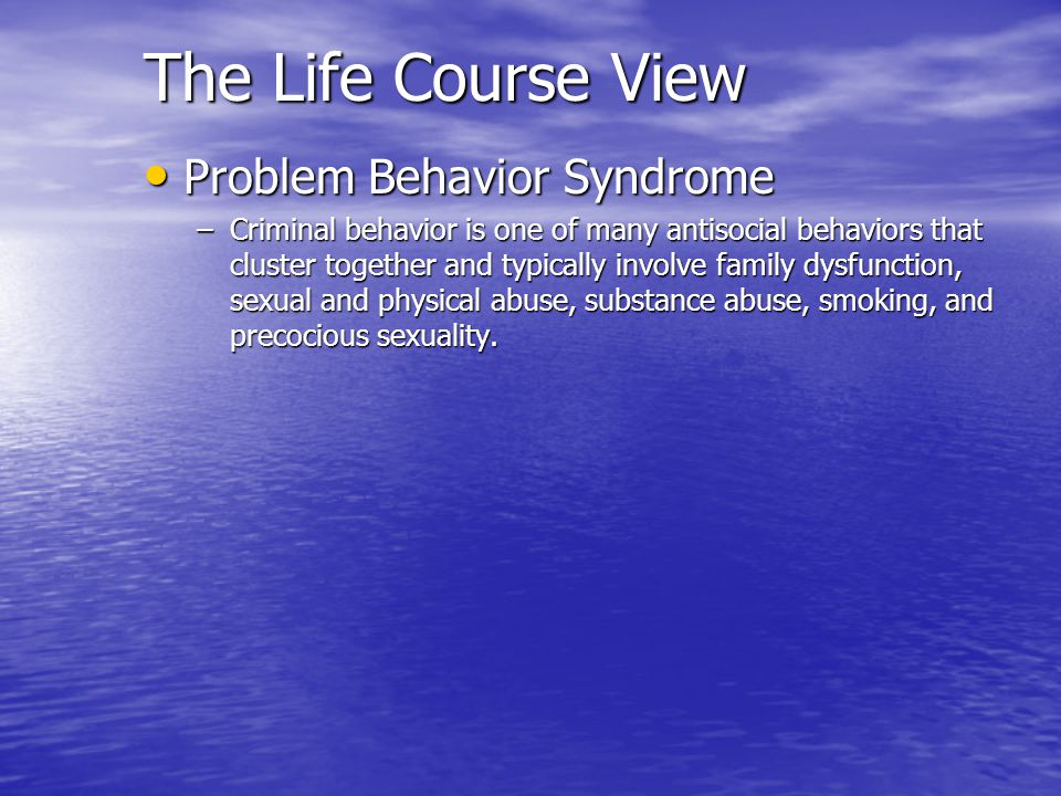 The Life Course View Problem Behavior Syndrome