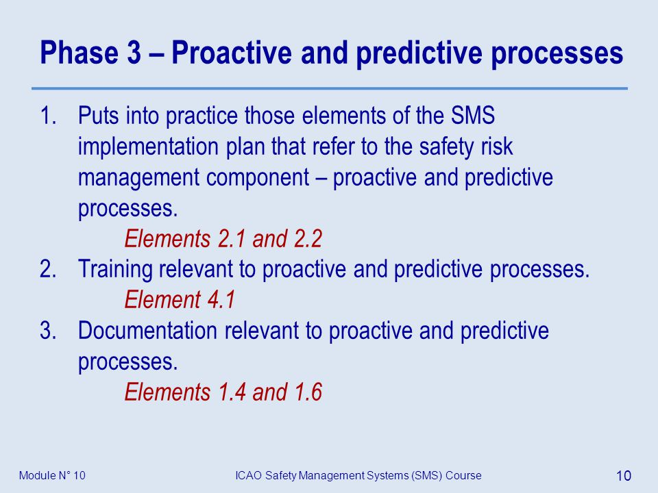 Phase 3 – Proactive and predictive processes