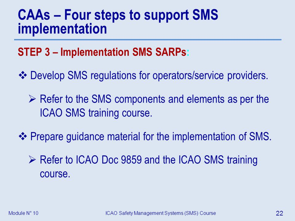 CAAs – Four steps to support SMS implementation