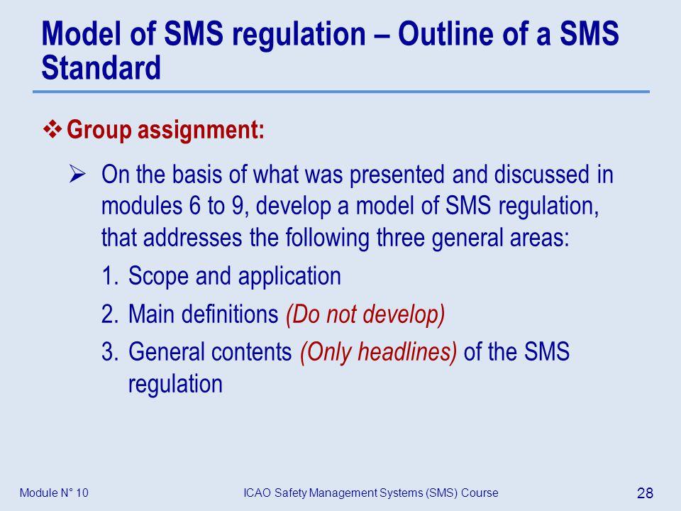 Model of SMS regulation – Outline of a SMS Standard