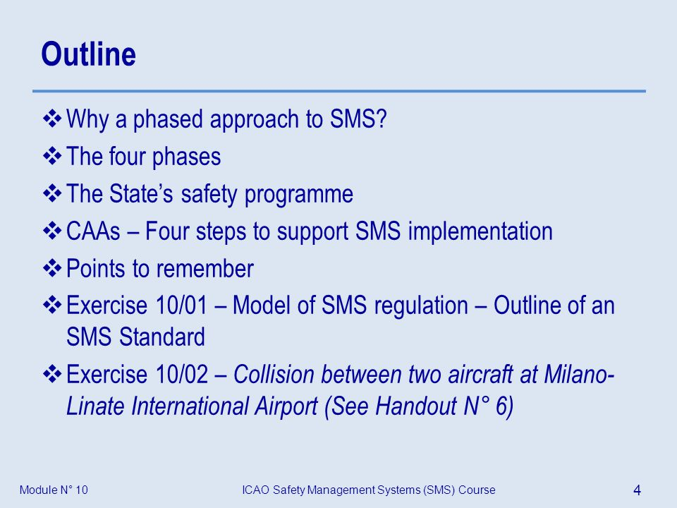 Outline Why a phased approach to SMS The four phases