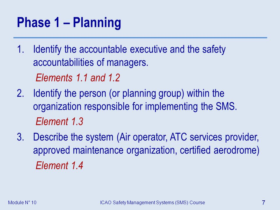 Phase 1 – Planning Identify the accountable executive and the safety accountabilities of managers.