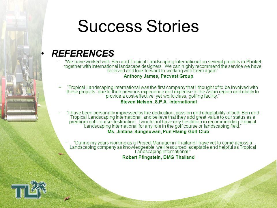 Success Stories REFERENCES