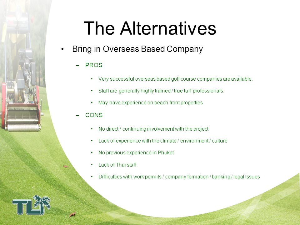 The Alternatives Bring in Overseas Based Company PROS CONS