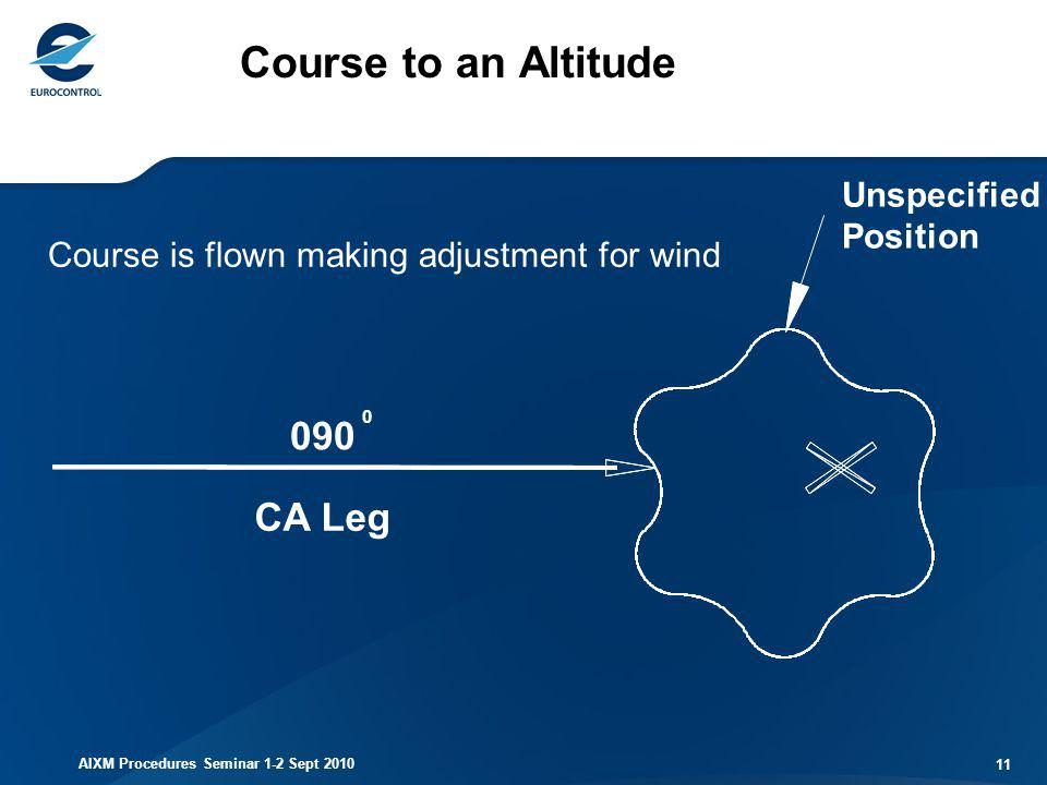 Course to an Altitude 090 CA Leg Unspecified Position