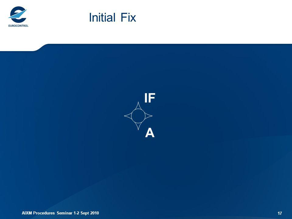Initial Fix IF A AIXM Procedures Seminar 1-2 Sept 2010
