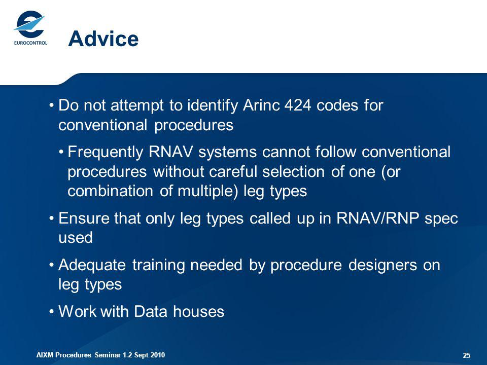 Advice Do not attempt to identify Arinc 424 codes for conventional procedures.
