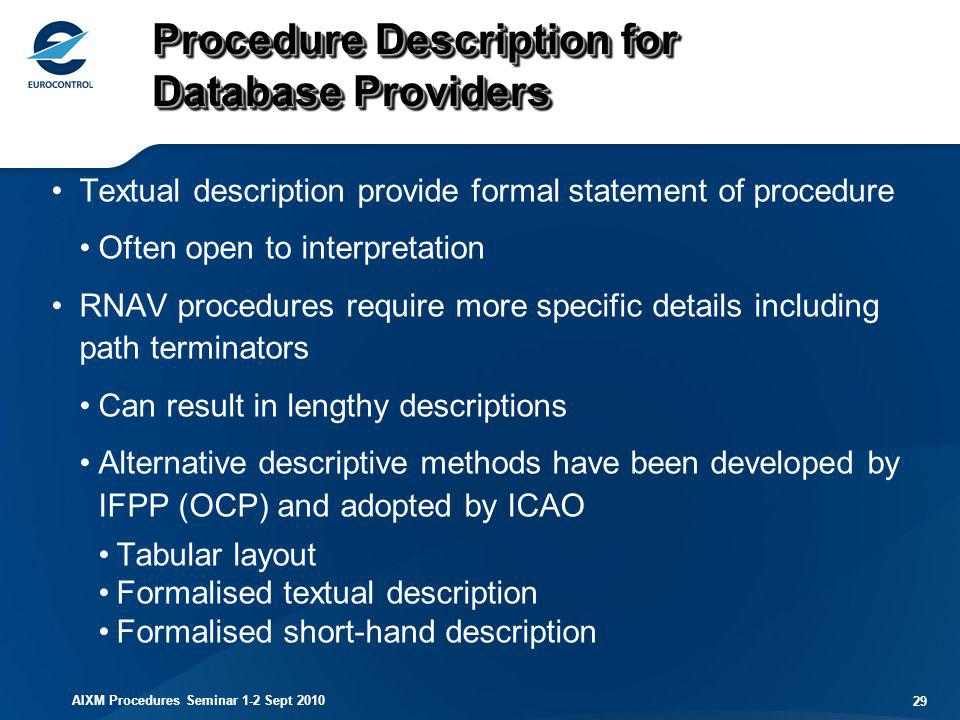 Procedure Description for Database Providers