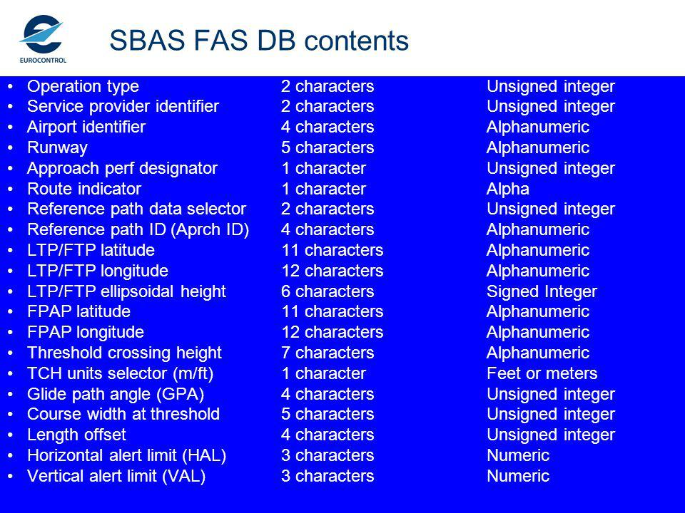 SBAS FAS DB contents Operation type 2 characters Unsigned integer