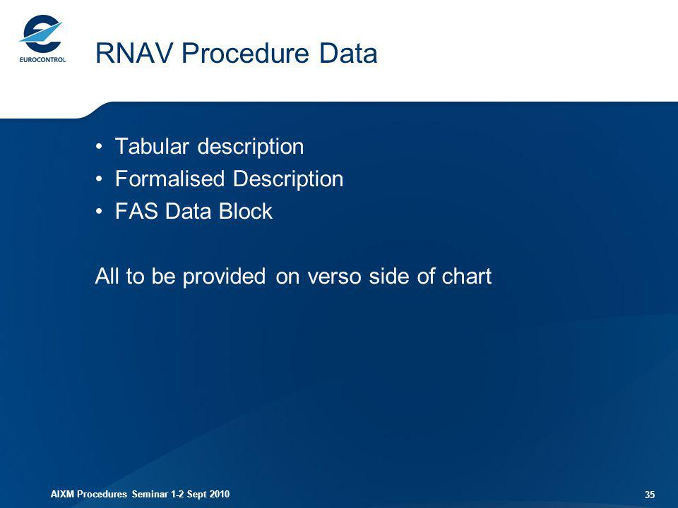 RNAV Procedure Data Tabular description Formalised Description