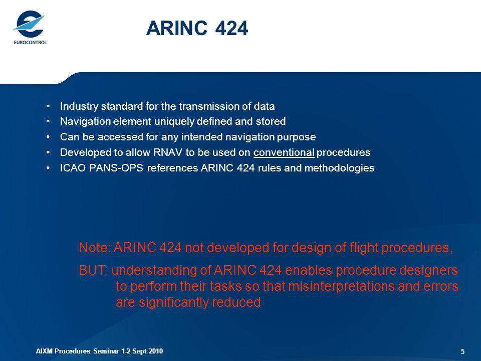 ARINC 424 Industry standard for the transmission of data. Navigation element uniquely defined and stored.