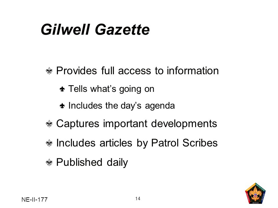 Gilwell Gazette Provides full access to information