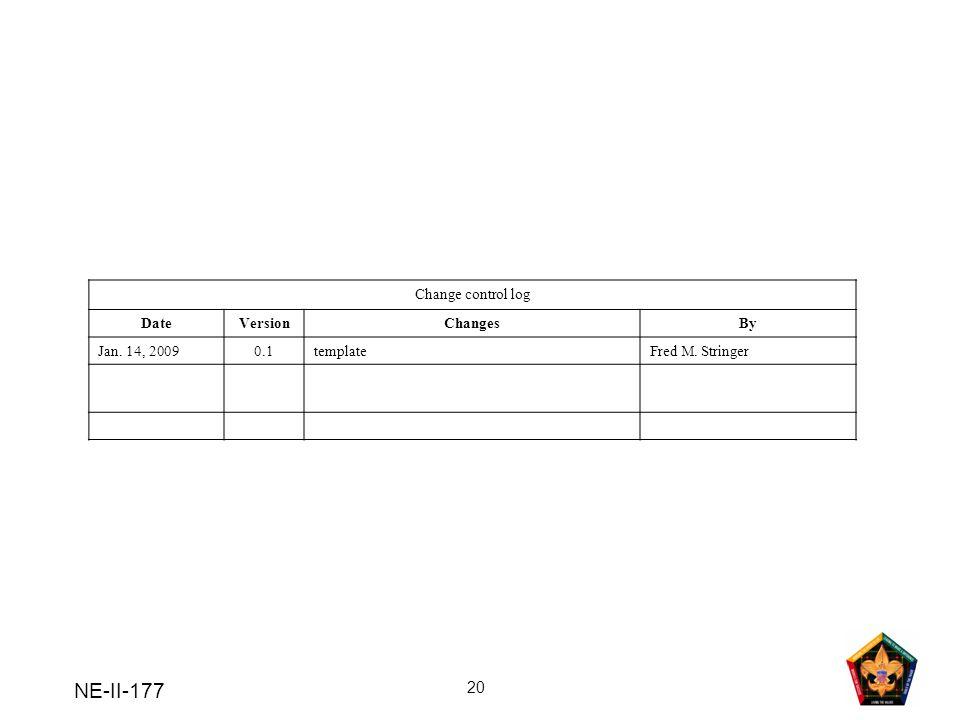 NE-II-177 Change control log Date Version Changes By Jan. 14, 2009 0.1