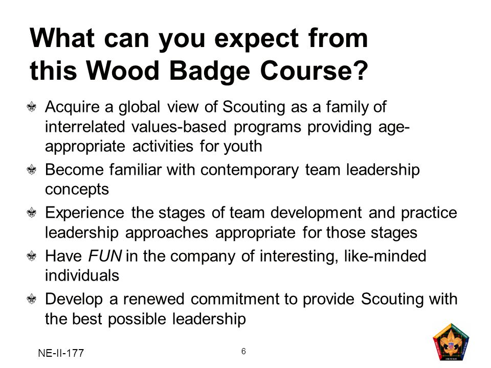 What can you expect from this Wood Badge Course