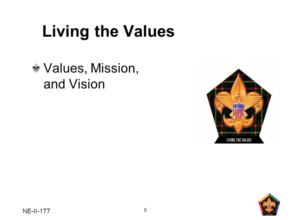 Living the Values Values, Mission, and Vision NE-II-177