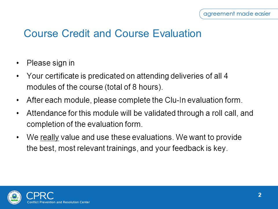 Course Credit and Course Evaluation