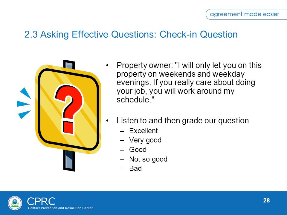 2.3 Asking Effective Questions: Check-in Question
