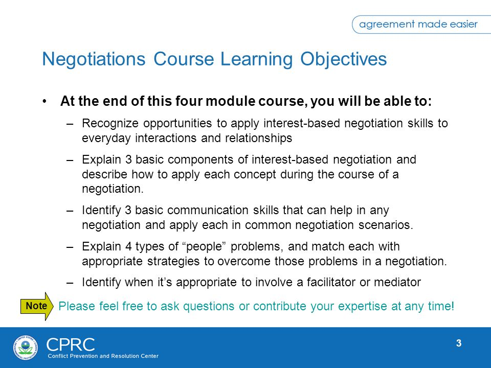 Negotiations Course Learning Objectives