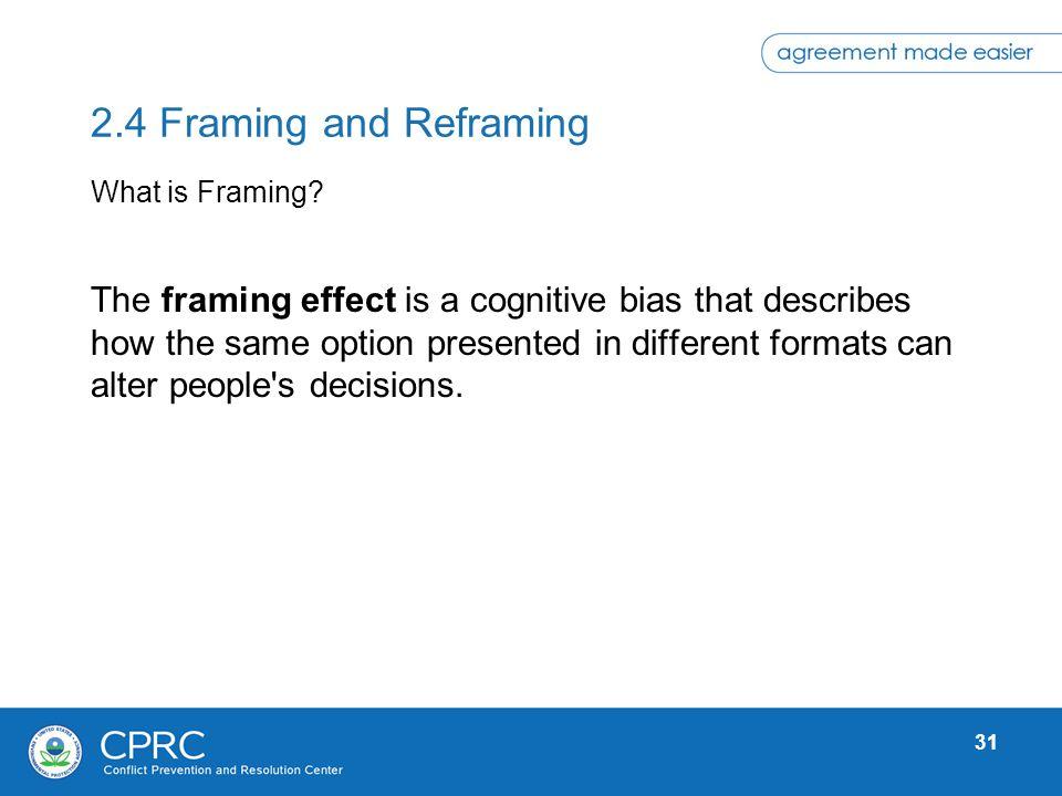 2.4 Framing and Reframing What is Framing