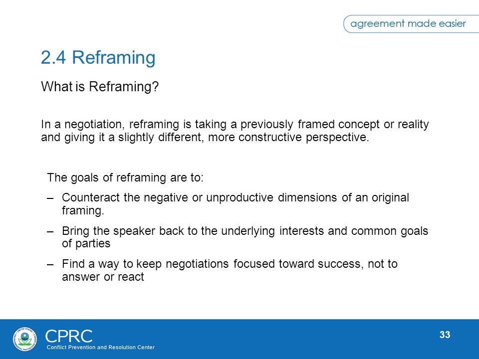 2.4 Reframing What is Reframing