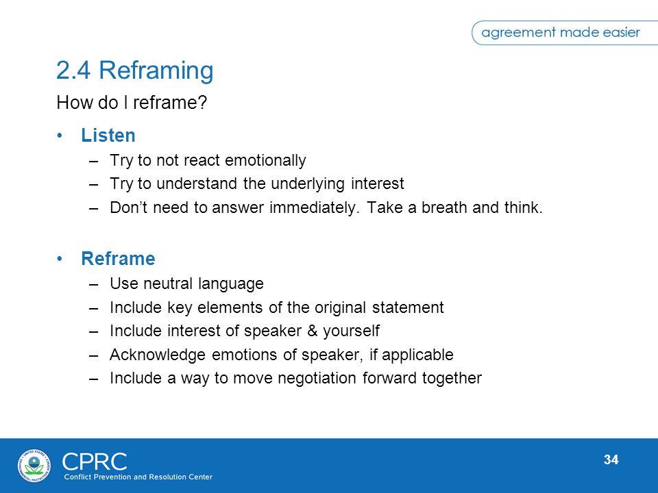 2.4 Reframing How do I reframe Listen Reframe