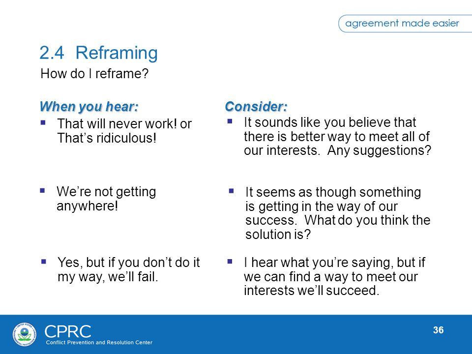 2.4 Reframing How do I reframe When you hear: Consider: