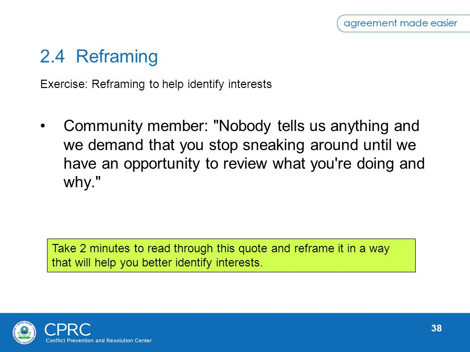2.4 Reframing Exercise: Reframing to help identify interests.