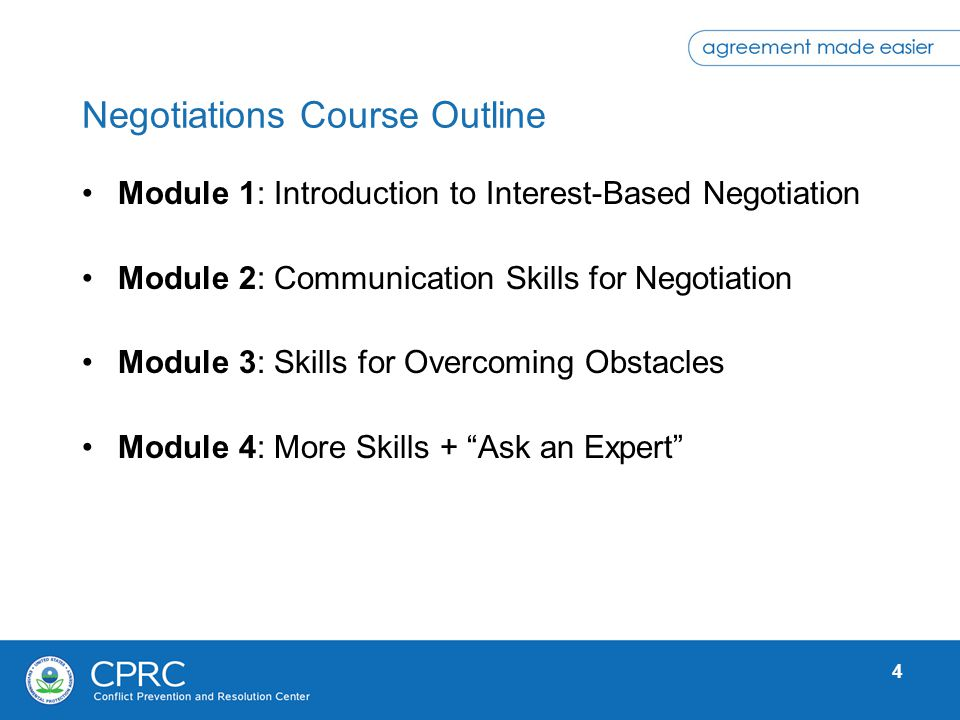 Negotiations Course Outline