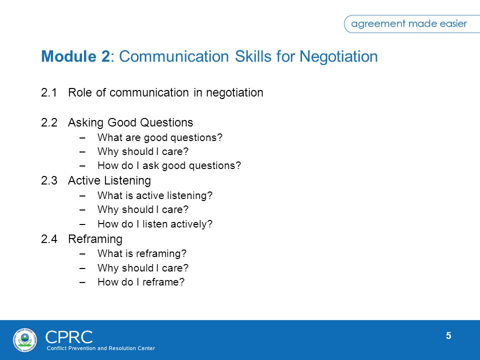 Module 2: Communication Skills for Negotiation